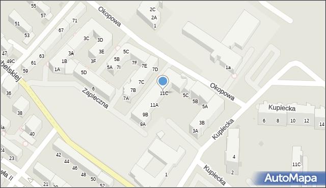 Kołobrzeg, Zapleczna, 11C, mapa Kołobrzegu
