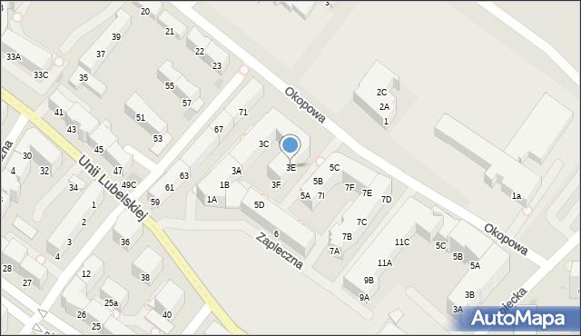Kołobrzeg, Zapleczna, 3E, mapa Kołobrzegu