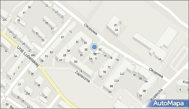Kołobrzeg, Zapleczna, 5B, mapa Kołobrzegu
