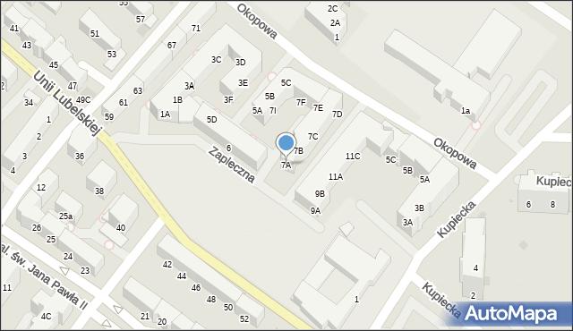 Kołobrzeg, Zapleczna, 7A, mapa Kołobrzegu