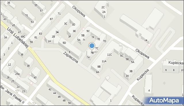 Kołobrzeg, Zapleczna, 7B, mapa Kołobrzegu