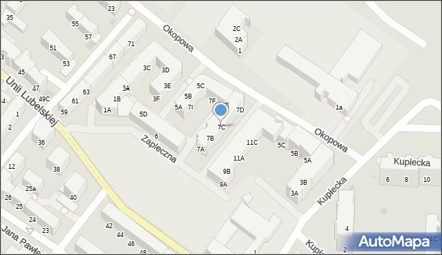 Kołobrzeg, Zapleczna, 7C, mapa Kołobrzegu