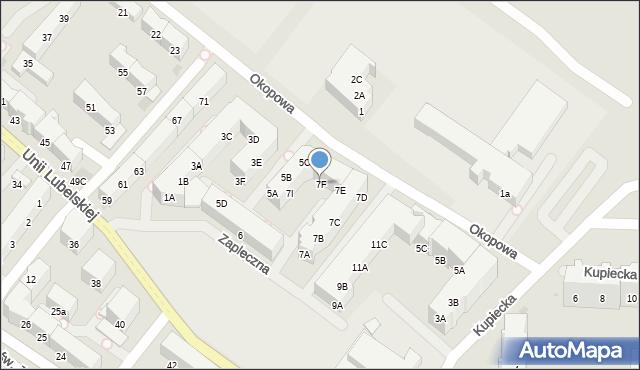 Kołobrzeg, Zapleczna, 7F, mapa Kołobrzegu