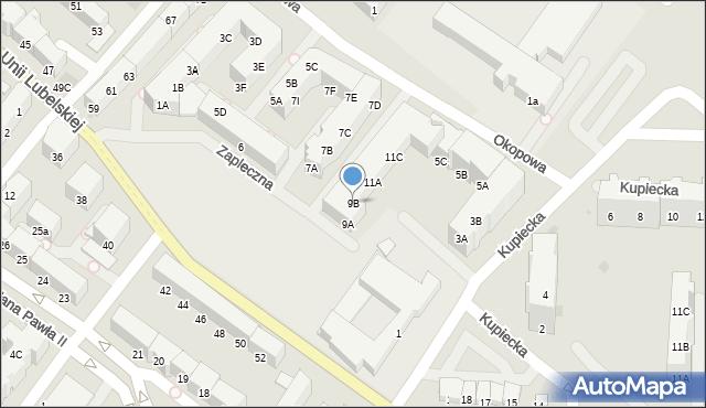 Kołobrzeg, Zapleczna, 9B, mapa Kołobrzegu