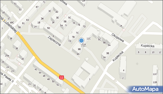 Kołobrzeg, Zapleczna, 9C, mapa Kołobrzegu