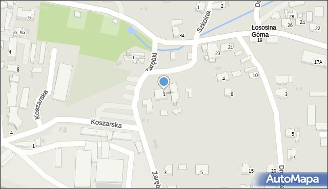 Limanowa, Zarębki, 1, mapa Limanowa