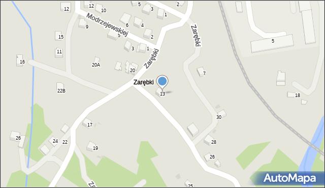 Limanowa, Zarębki, 13, mapa Limanowa