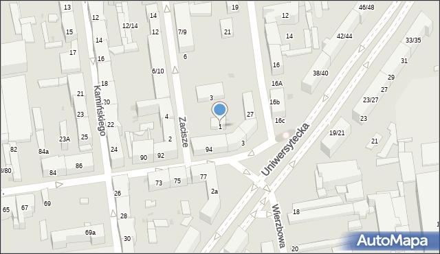 Łódź, Zacisze, 1, mapa Łodzi
