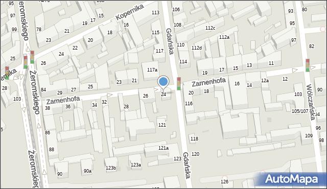 Łódź, Zamenhofa Ludwika, dr., 24, mapa Łodzi