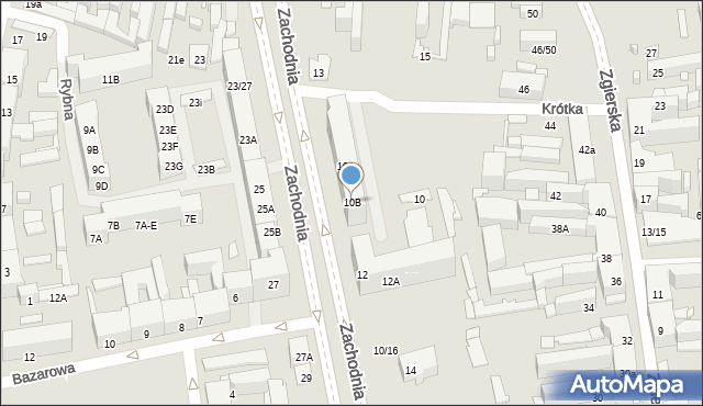 Łódź, Zachodnia, 10B, mapa Łodzi