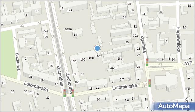 Łódź, Zachodnia, 16A, mapa Łodzi