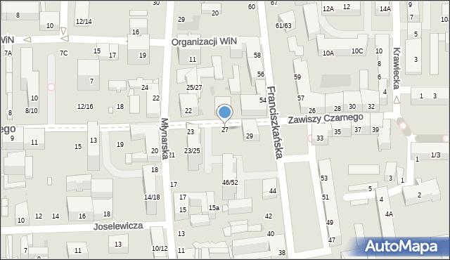 Łódź, Zawiszy Czarnego, 27, mapa Łodzi