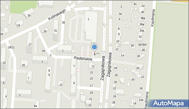 Łódź, Zagajnikowa, 9, mapa Łodzi