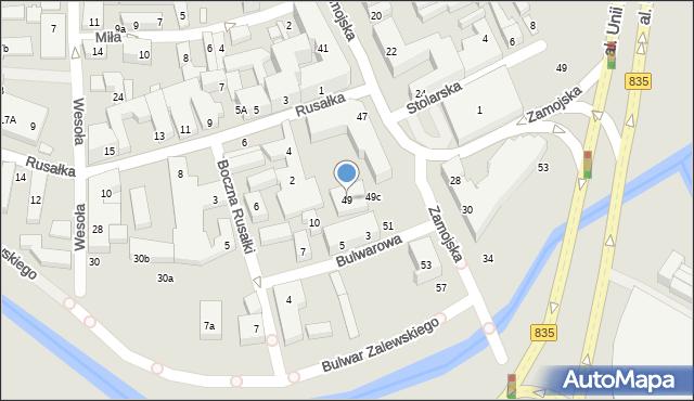 Lublin, Zamojska, 49, mapa Lublina