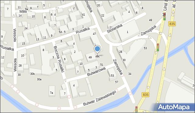 Lublin, Zamojska, 49c, mapa Lublina