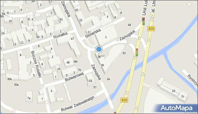 Lublin, Zamojska, 28, mapa Lublina