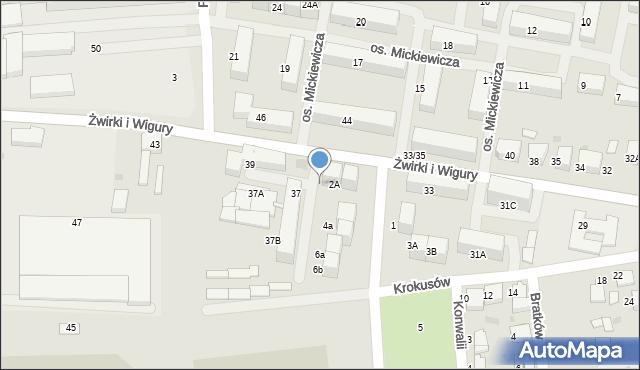Mikołów, Zawilców, 2B, mapa Mikołów