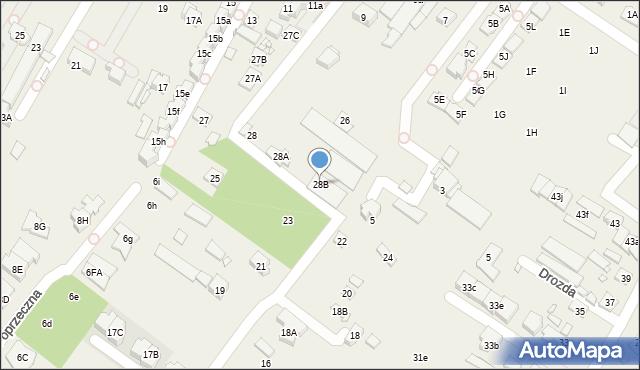 Mysiadło, Zakręt, 28B, mapa Mysiadło
