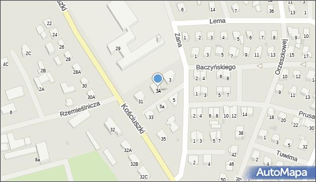 Olecko, Zana Tomasza, 3A, mapa Olecko