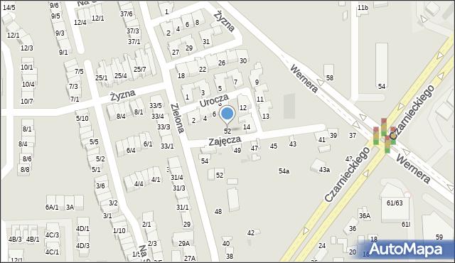 Radom, Zajęcza, 52, mapa Radomia