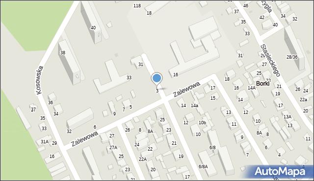 Radom, Zalewowa, 3, mapa Radomia