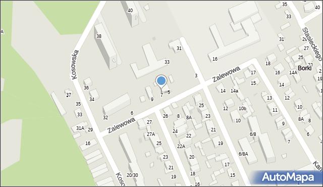 Radom, Zalewowa, 7, mapa Radomia