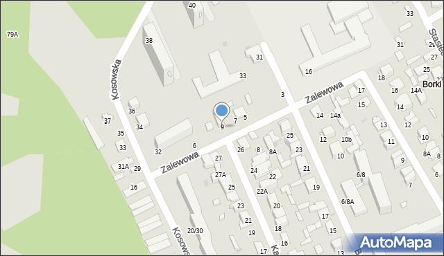 Radom, Zalewowa, 9, mapa Radomia