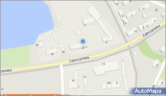 Ruda Śląska, Zabrzańska, 22, mapa Rudy Śląskiej