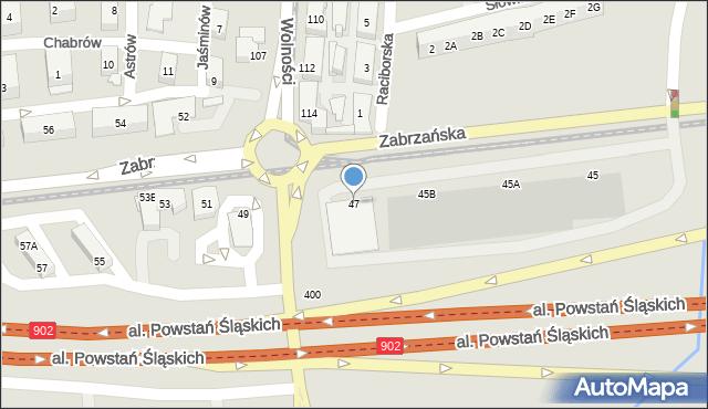 Ruda Śląska, Zabrzańska, 47, mapa Rudy Śląskiej
