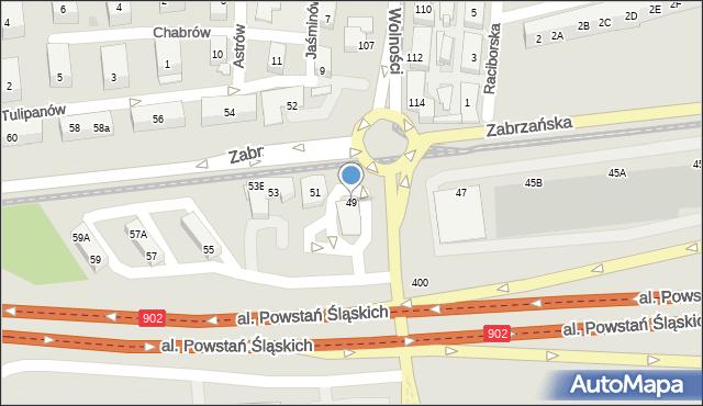 Ruda Śląska, Zabrzańska, 49, mapa Rudy Śląskiej