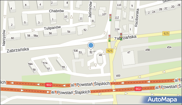 Ruda Śląska, Zabrzańska, 51, mapa Rudy Śląskiej
