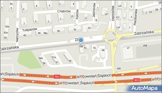 Ruda Śląska, Zabrzańska, 53B, mapa Rudy Śląskiej