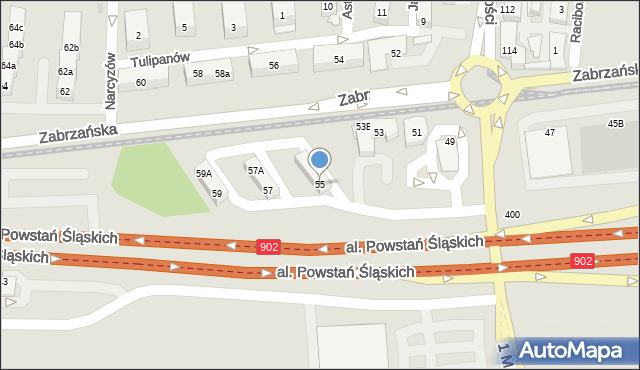 Ruda Śląska, Zabrzańska, 55, mapa Rudy Śląskiej