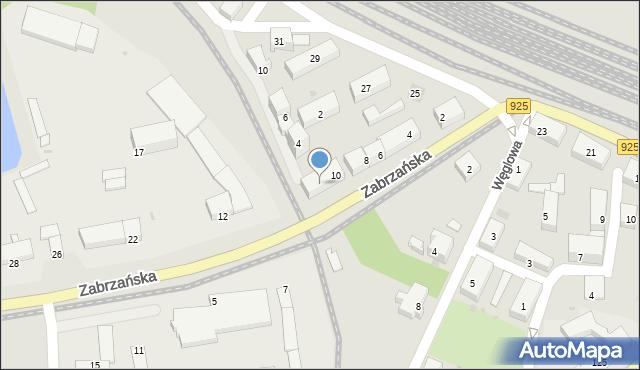Ruda Śląska, Zabrzańska, 10A, mapa Rudy Śląskiej