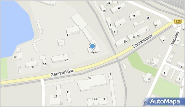 Ruda Śląska, Zabrzańska, 12, mapa Rudy Śląskiej