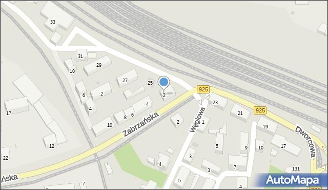 Ruda Śląska, Zabrzańska, 2, mapa Rudy Śląskiej