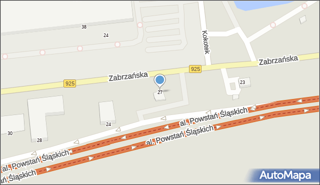 Ruda Śląska, Zabrzańska, 27, mapa Rudy Śląskiej