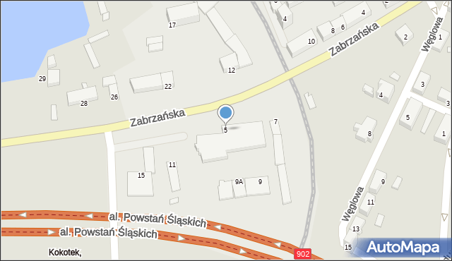 Ruda Śląska, Zabrzańska, 5, mapa Rudy Śląskiej