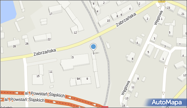 Ruda Śląska, Zabrzańska, 7, mapa Rudy Śląskiej