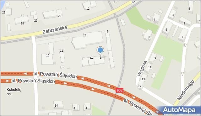Ruda Śląska, Zabrzańska, 9, mapa Rudy Śląskiej