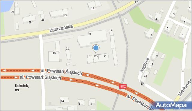 Ruda Śląska, Zabrzańska, 9A, mapa Rudy Śląskiej