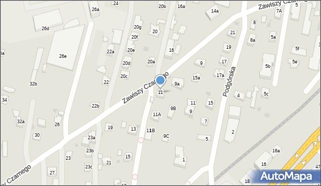 Rzeszów, Zawiszy Czarnego, 11, mapa Rzeszów
