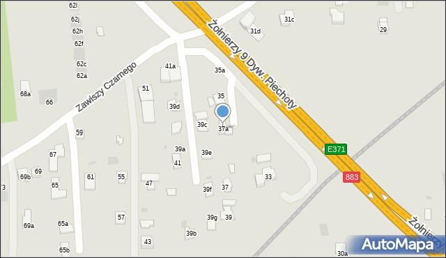 Rzeszów, Zawiszy Czarnego, 37a, mapa Rzeszów