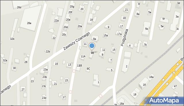 Rzeszów, Zawiszy Czarnego, 9B, mapa Rzeszów