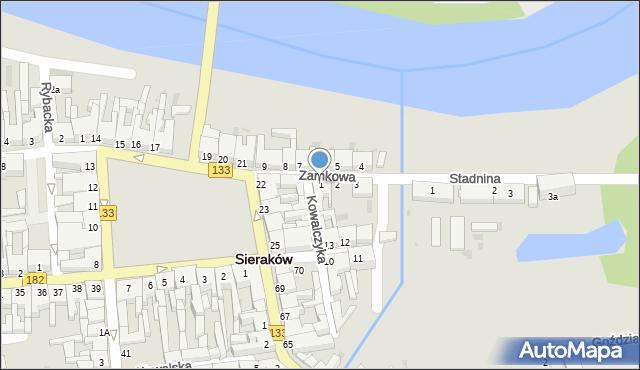 Sieraków, Zamkowa, 1, mapa Sieraków