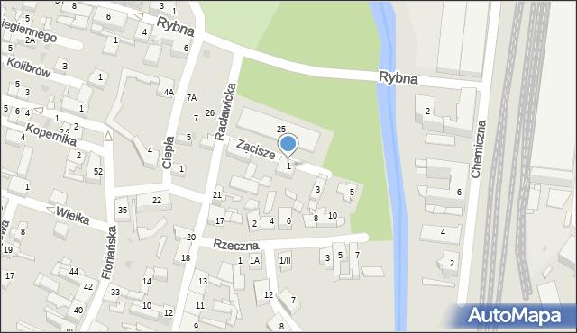 Sosnowiec, Zacisze, 1, mapa Sosnowca