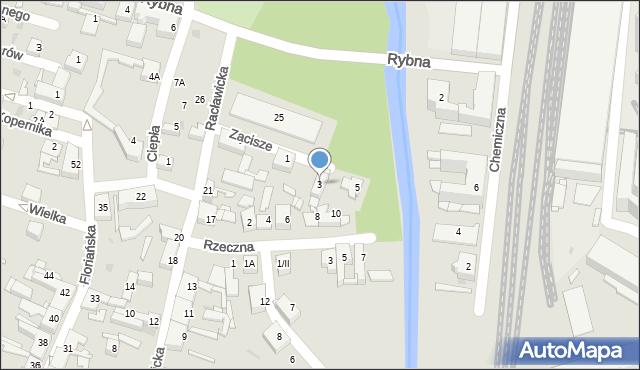 Sosnowiec, Zacisze, 3, mapa Sosnowca