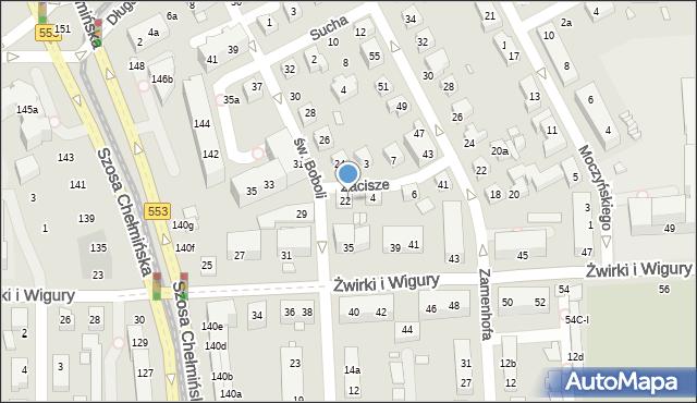 Toruń, Zacisze, 2, mapa Torunia