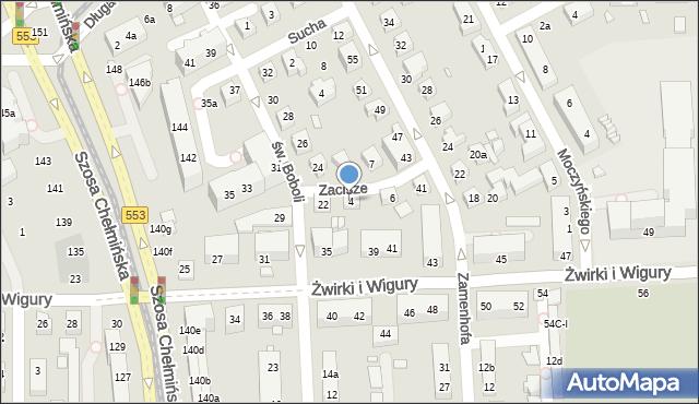Toruń, Zacisze, 4, mapa Torunia