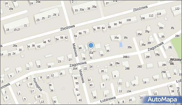 Toruń, Zagonowa, 31a, mapa Torunia